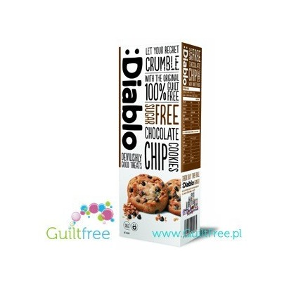 Diablo sugar free chocolate chip cookies with sweeteners - Crisp cakes with pieces of milk chocolate without sugar, contain swee