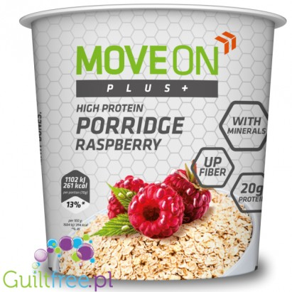 Moveon Plus + high protein raspberry oatmeal - high-protein porridge with raspberries, enriched with minerals, contains a sweet