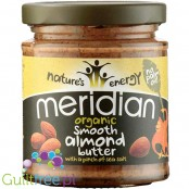 Meridian smooth almond butter 100% nuts - almond butter with roasted almonds in skins, ground smoothly, with no added sugar