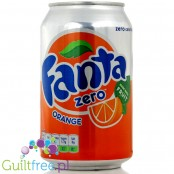 Fanta Orange Zero, sparkling low calorie orange fruit drink with sweeteners