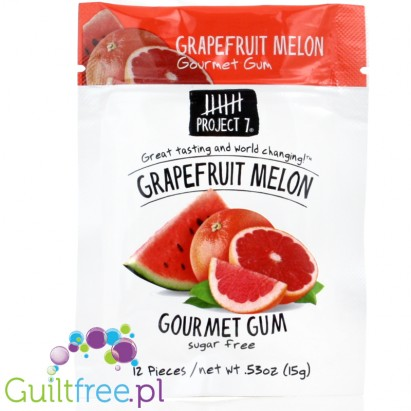 Project 7 Grapferuit Melon sugar free chewing gum - Sugar-free chewing gum with grapefruit-watermelon taste, contains sweeteners