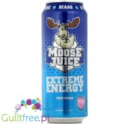 Muscle Moose Juice Blue Raspberry flavor carbonated energy drink with BCAA and B vitamins