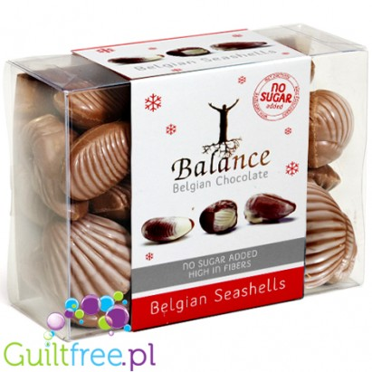 Belgian Chocolate Chocolates with hazelnuts in the shape of seafood