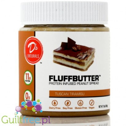 D's Naturals Protein Infused Peanut Fluffbutter, Tuscan Tiramisu - Vegan Peanut Butter with Enriched Protein, with a taste of ti