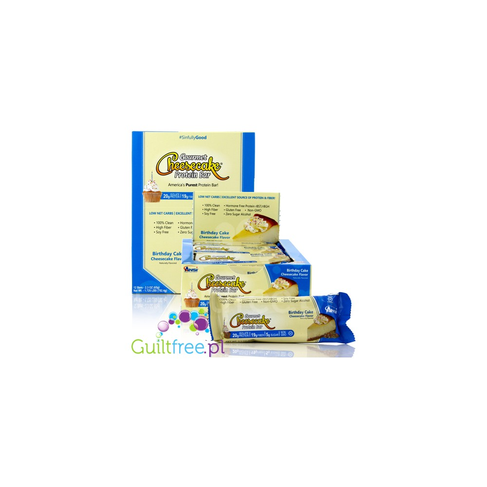 ANSI Gourmet Cheesecake Naturally Flavored Protein Bar Birthday Cake Flavor Loading Zoom