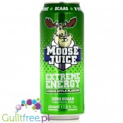 Muscle Moose Moose Juice, green apple flavor carbonated energy drink with BCAA and B vitamins with sweeteners