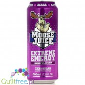 Muscle Moose Moose Juice, berry flavor carbonated energy drink with BCAA and B vitamins with sweeteners - Low-calorie carbonated