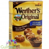 Werther's Original Chocolate candy sugar free, contains no sugars, contain sweetener