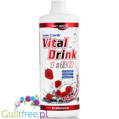 Best Body Vital Drink Strawberry 1L - koncentrat bez cukru z L-karnityną i witaminami