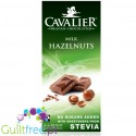 Cavalier Stevia no sugar added milk chocolate with hazelnuts