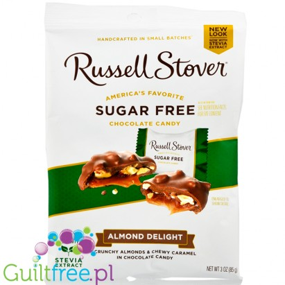 Russell Stover Sugar Free Almond Delights, Almond & Caramel Covered in Chocolate Candy