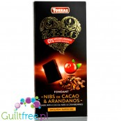 Torras Zero sugar free dark chocolate with cocoa nibs and cranberries