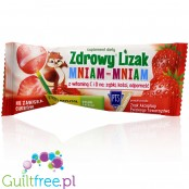 Healthy lollipop Mniam sweetened with xylitol and stevia with dried strawberries
