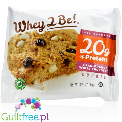 Whey2Be Cranberry, Orange & White Choc 20g protein all natural cookie