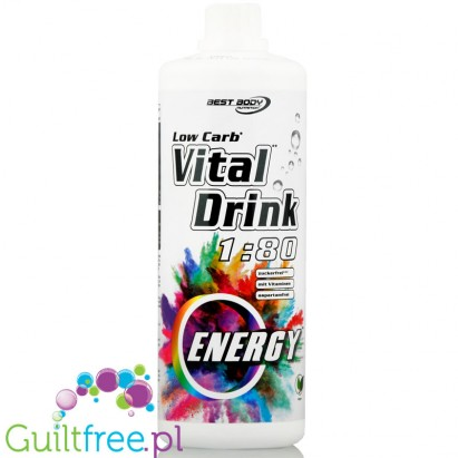 Best Body Vital Drink Energy 1L - koncentrat bez cukru z L-karnityną i witaminami