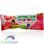 Healthy lollipop Mniam sweetened with xylitol and stevia with dried raspberries