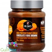 Dr. Zak's high protein peanut spread chocolate fudge brownie