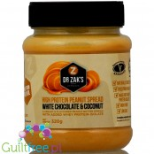 Dr. Zak's high protein peanut spreads white chocolate & coconut - peanut butter with whey protein isolate