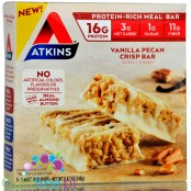 Atkins Meal Vanilla Pecan Crisp Bar box of 5 bars