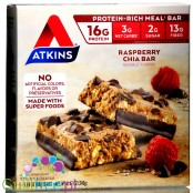 Atkins Meal Raspberry Chia box of 5 protein bars
