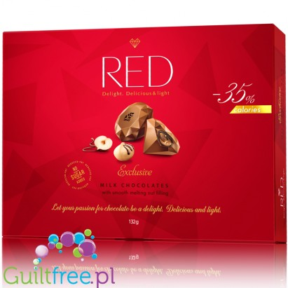 RED Chocolette no sugar added milk chocolate pralines, 35% less calories