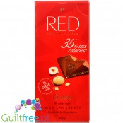 RED Chocolette no sugar added milk chocolate with hazelnuts and macadamia, 35% less calories