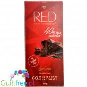 RED Chocolette no sugar added dark chocolate, 60% cocoa, 40% less calories
