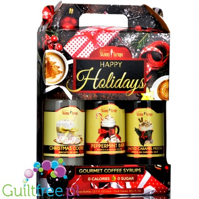 Skinny Syrups Happy Holidays Trio - Salted Caramel Mocha, Christmas Cookie, Peppermint Bark
