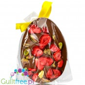 Santini Easter Egg, sugar free milk chocolate with strawberries and pistachio