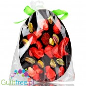 Santini Easter Egg, sugar free dark chocolate with strawberries and pistachio