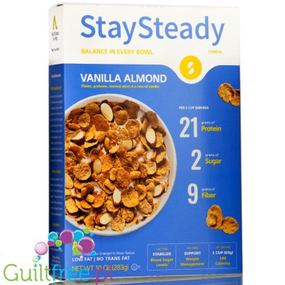 Nutritious Living StaySteady Cereal, Vanilla Almond  - Breakfast cereals enriched with protein and fiber, with pecan nuts