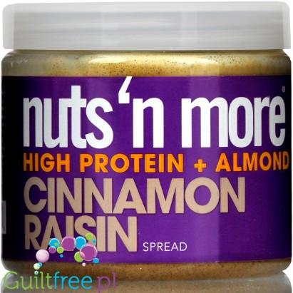 Nuts' n More Cinnamon Raisin Almond Butter No Sugar Added with Xylitol and Whey Protein