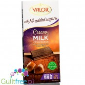 Valor no added sugar milk chcolate with hazelnuts, sweetened with stevia