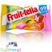 Fruittella 30% les sugar chewy candies: Strawberry, Orange, Lemon