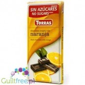 Torras Dark chocolate without added sugar, with pieces of orange, sweetened with maltitol