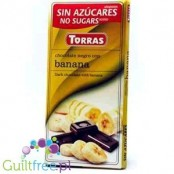 Torras Dark chocolate without added sugar, with pieces of banana, sweetened with maltitol