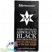 Montezuma's Absolute Black 100% Cocoa Solids with Orange & Cocoa Nibs 100G