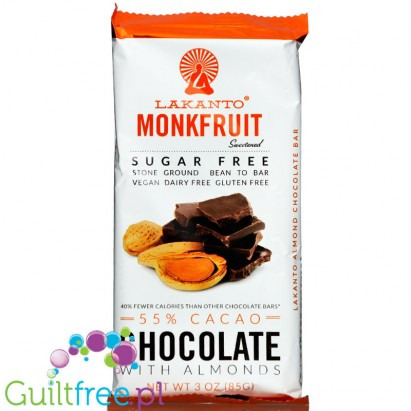 Lakanto Sugar Free, Monkfruit Sweetened 55% Chocolate Bar, Almonds