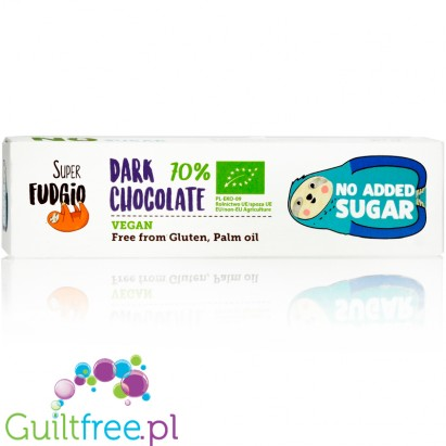 Super Fudgio Vegan no added sugar dark chocolate bar
