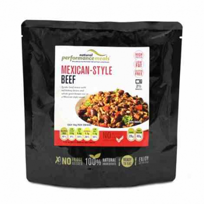 Performance Meals Mexican Style Beef with red kidney beans and whole grain brown rice