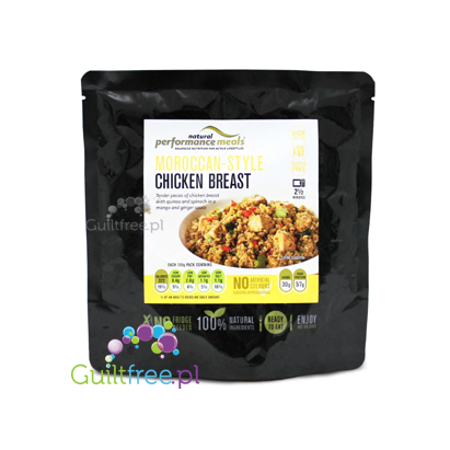 Performance Meals Moroccan-Style Chicken Breast with quinoa and spinach in a mango and ginger sauce