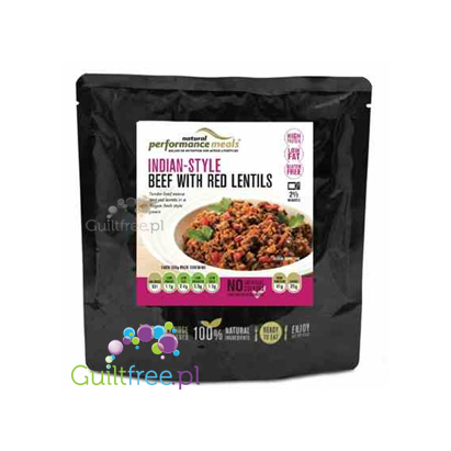 Performance Meals Indian-Style Beef with Red Lentils - prepared dish Indian beef with red lentils 100% natural ingredients