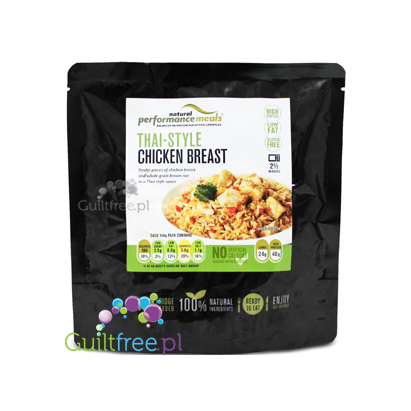 Performance Meals Thai-Style Chicken Breast and whole grain brown rice - ready-made dish Thai chicken with brown rice 100% natur