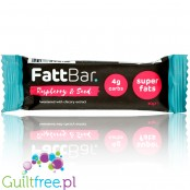 FattBar Raspberry & Seed Keto, Low Carb, No Added Sugar, All Natural, Vegan bar