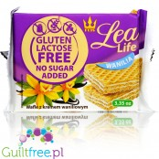 Lea Life no added sugar, gluten free and lactose free waffers with vanilla cream