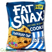 Fat Snax Cookies, Chocolat Chip - 2 keto cookies, gluten & sugar free