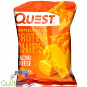 Quest Tortilla Chips, Nacho Cheese - chipsy proteinowe 18g białka, Ser & Pomidor