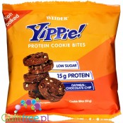 Weider® Yippie! Cookie Bites, Oatmeal Choc Chip, protein enriched crunchy cookies