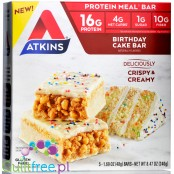 Atkins Meal Birthday Cake protein bar without maltitol, box of 5 bars