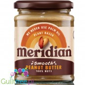 Meridian smooth peanut butter 100% nuts - ground peanut butter, roasted in skins, smoothly ground, with no added sugar and no sa